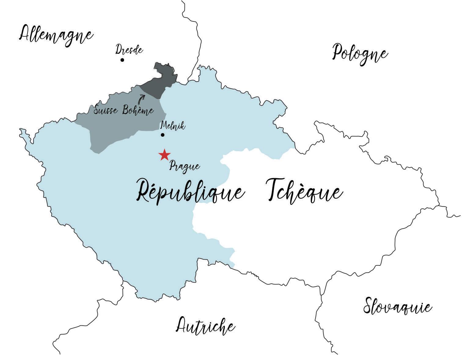Suisse Bohème carte république tchèque