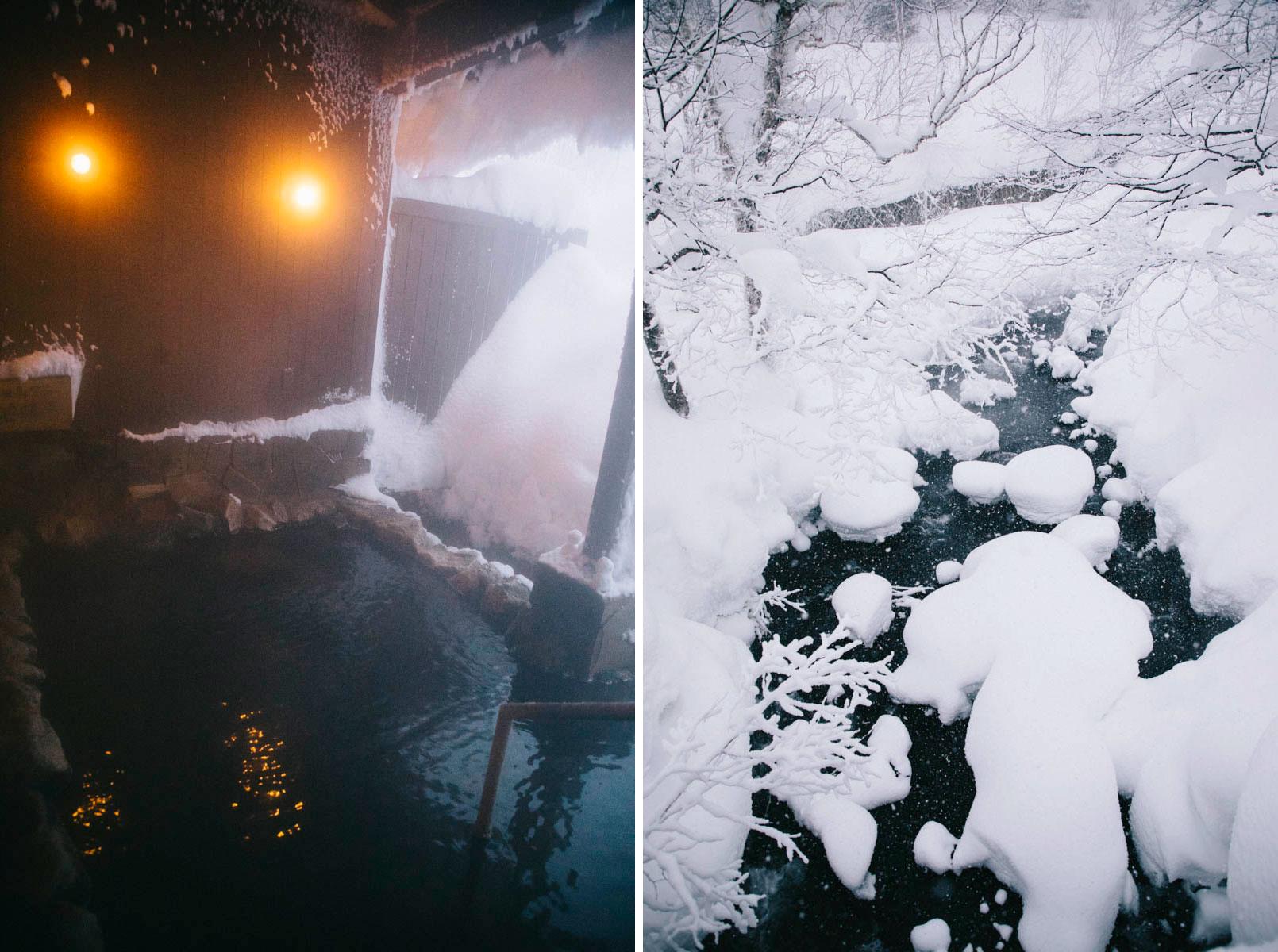 Onsen asahidake neige hiver higashikawa hokkaido japon