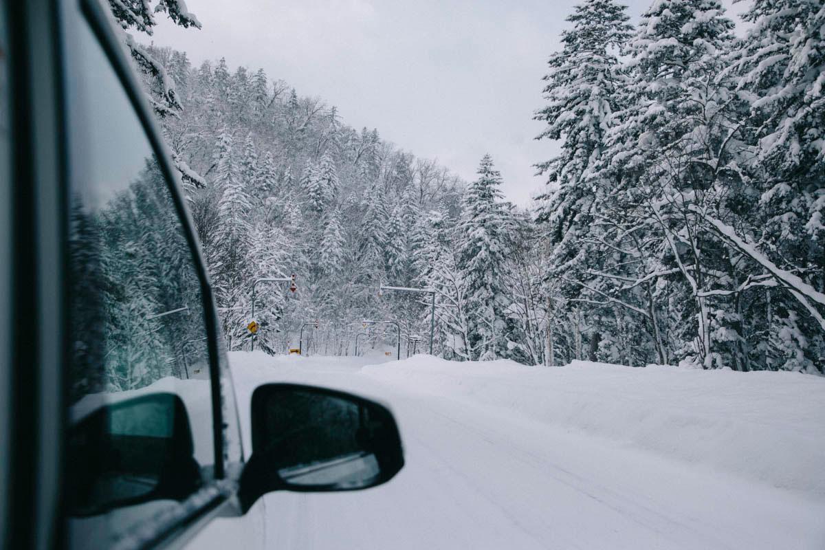 voiture hokkaido higashikawa japon hiver