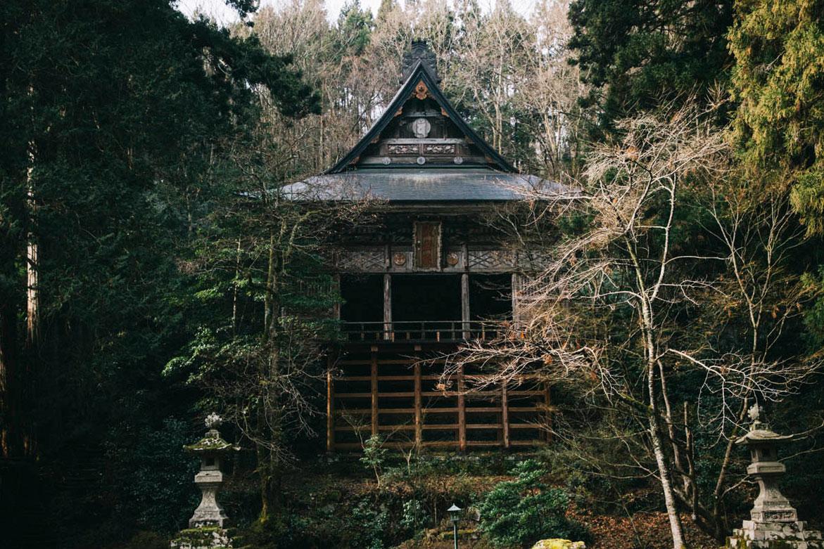 la terrasse de Seisuiji temple sado island île niigata japon