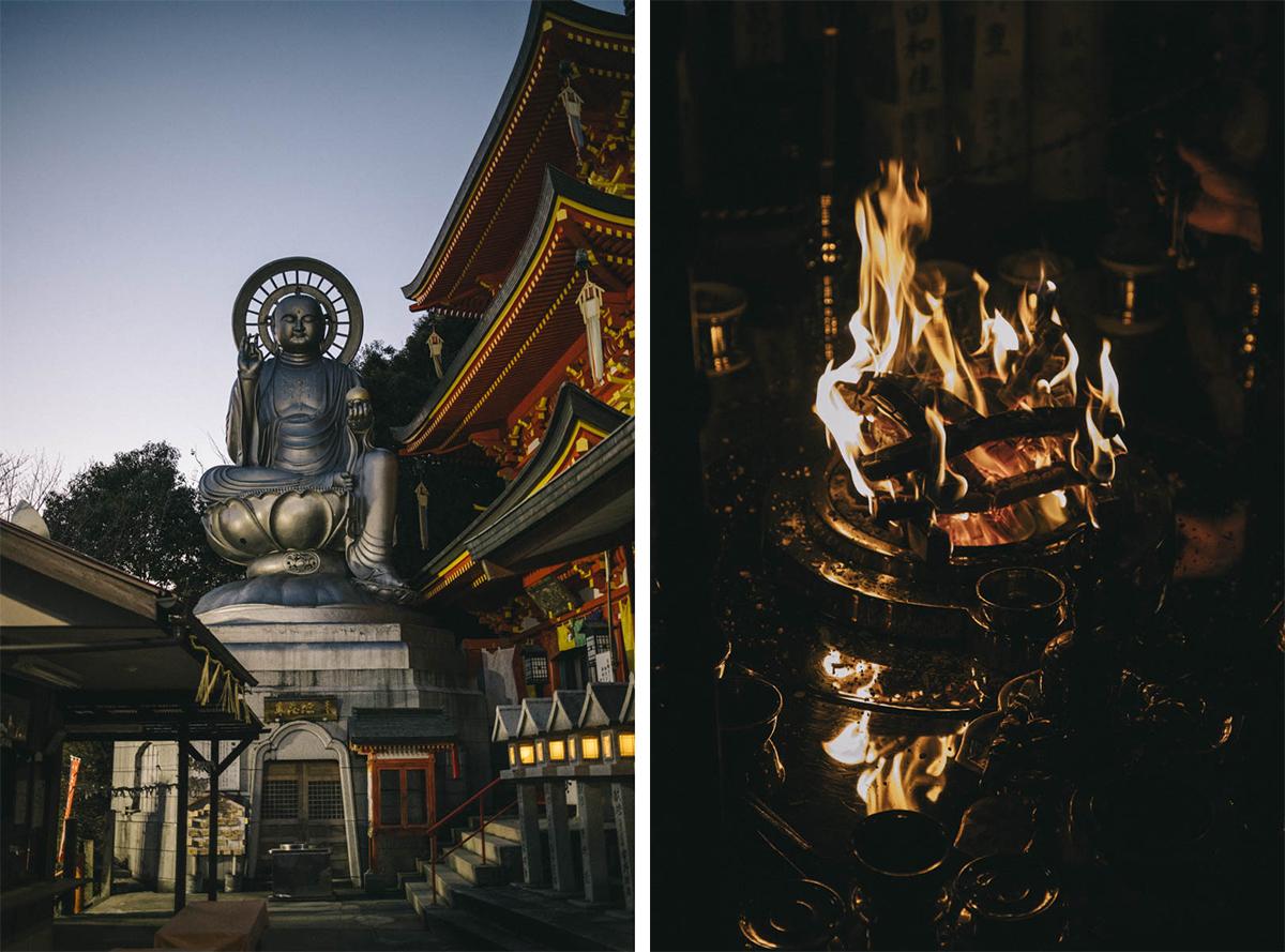 ceremonie du feu coma buddha temple japon nuit
