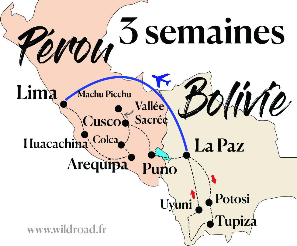 Carte itinéraire Pérou Bolivie 3 semaines