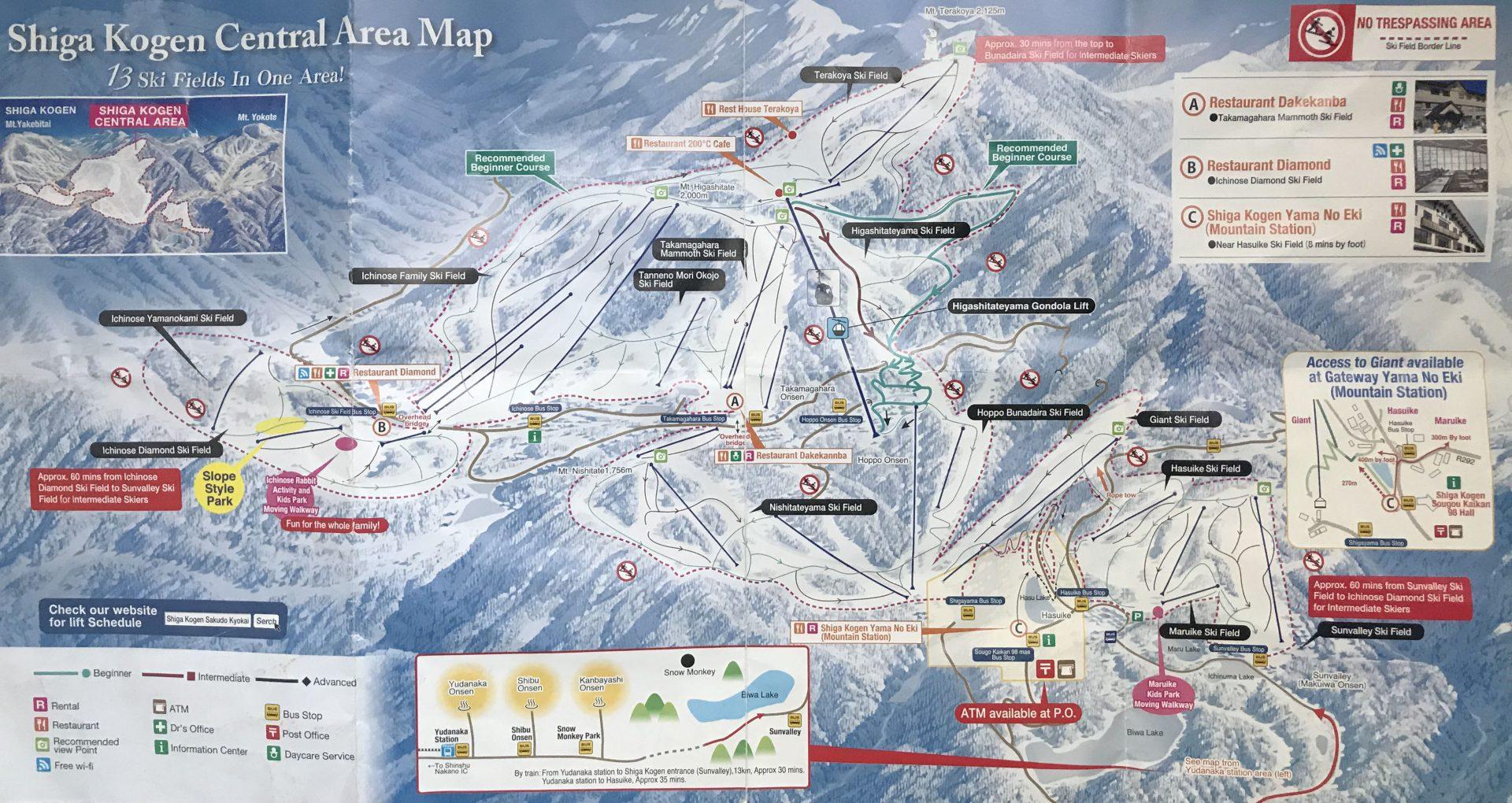 Ski map shiga kogan nagano alpes japonaises