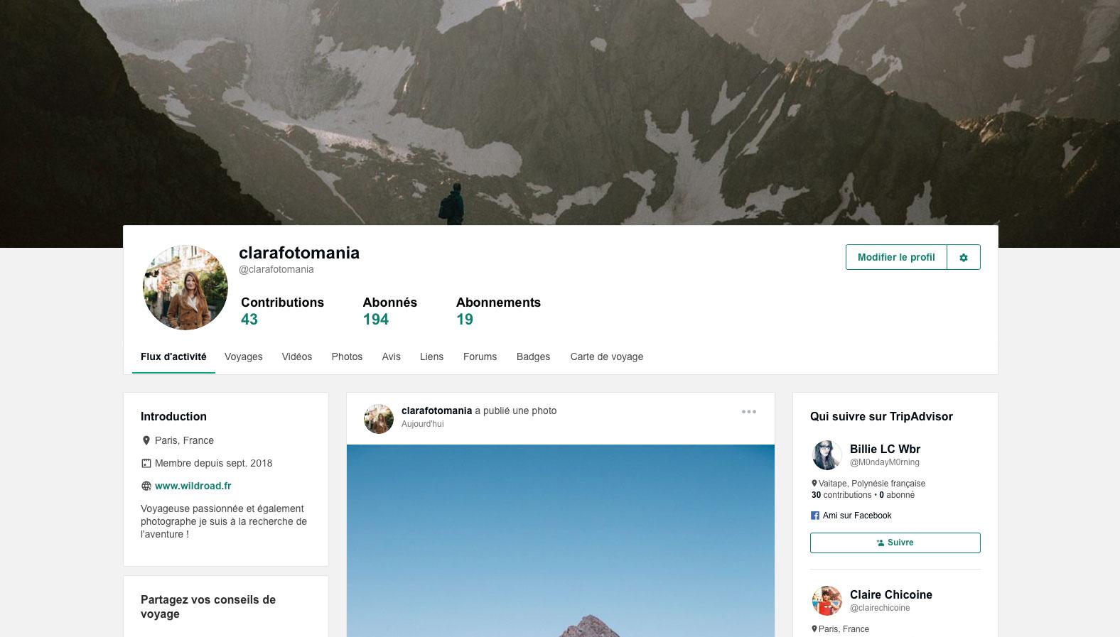 Mon profil travel feed tripAdvisor clara