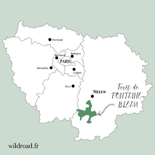 Carte de la forêt de fontainebleau