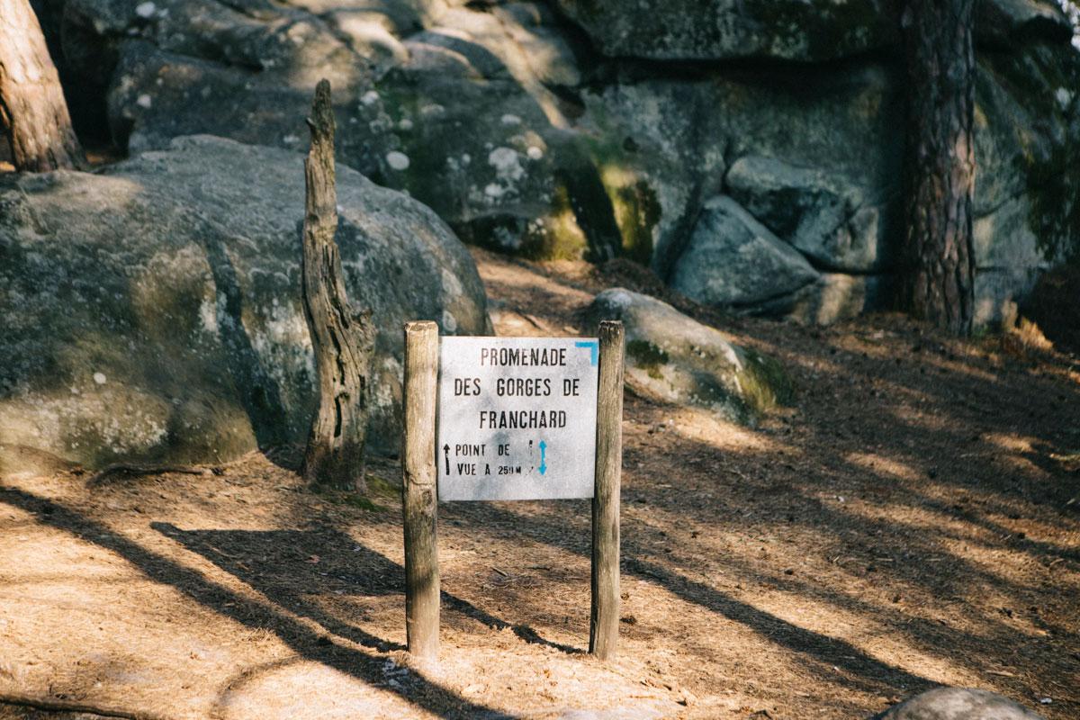panneau itinéraire randonnée gorge du franchard randonnée fontainebleau