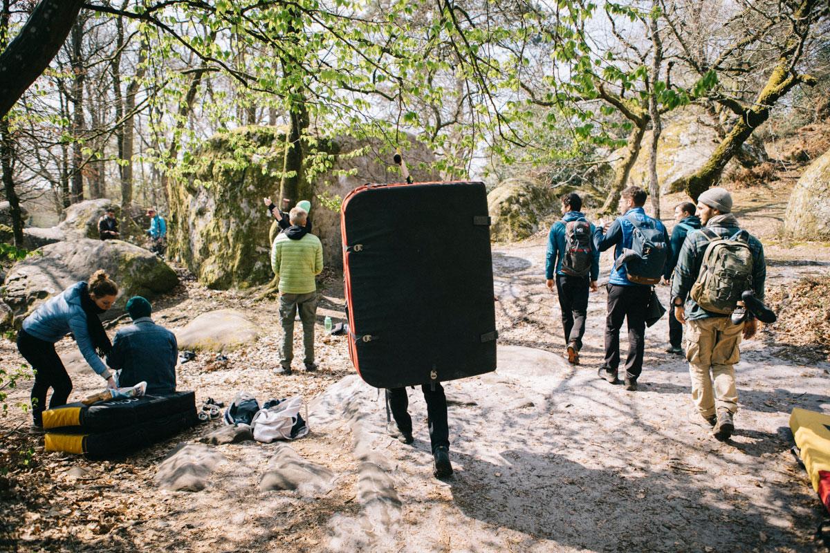 Grimpeurs Roche Cuvier Fontainebleau randonnée en week-end