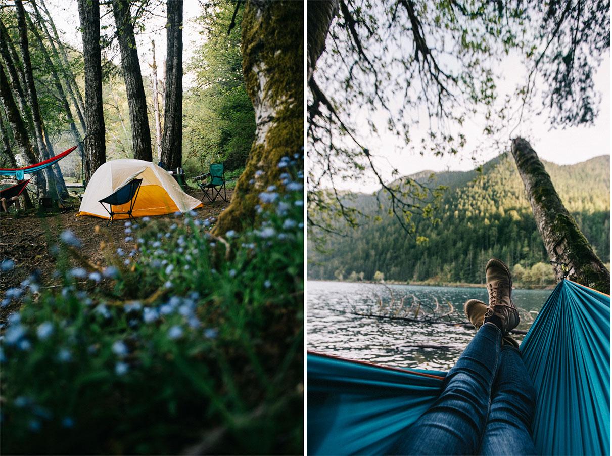 Camping de Fairholm lac Crescent sur la péninsule Olympique