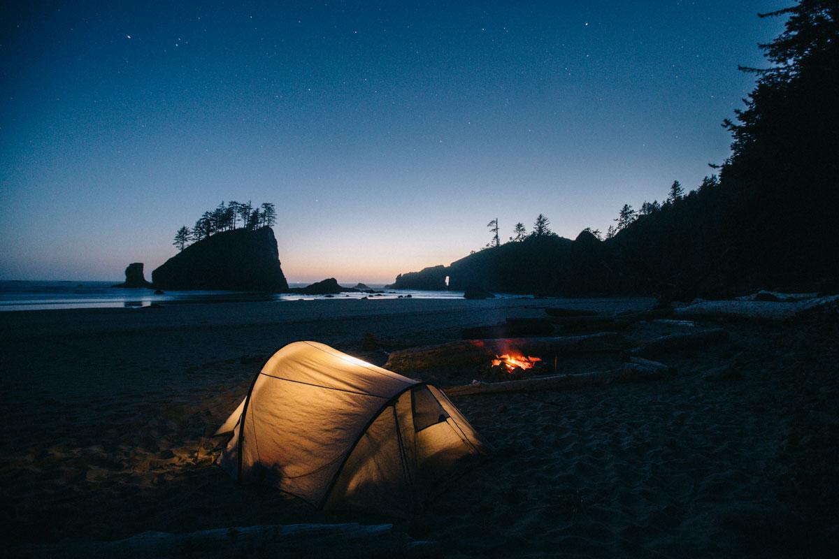 Camping sur la plage de Second beach