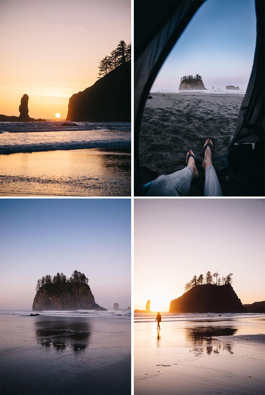 Sunset et sunrise sur la plage de second beach péninsule Olympique
