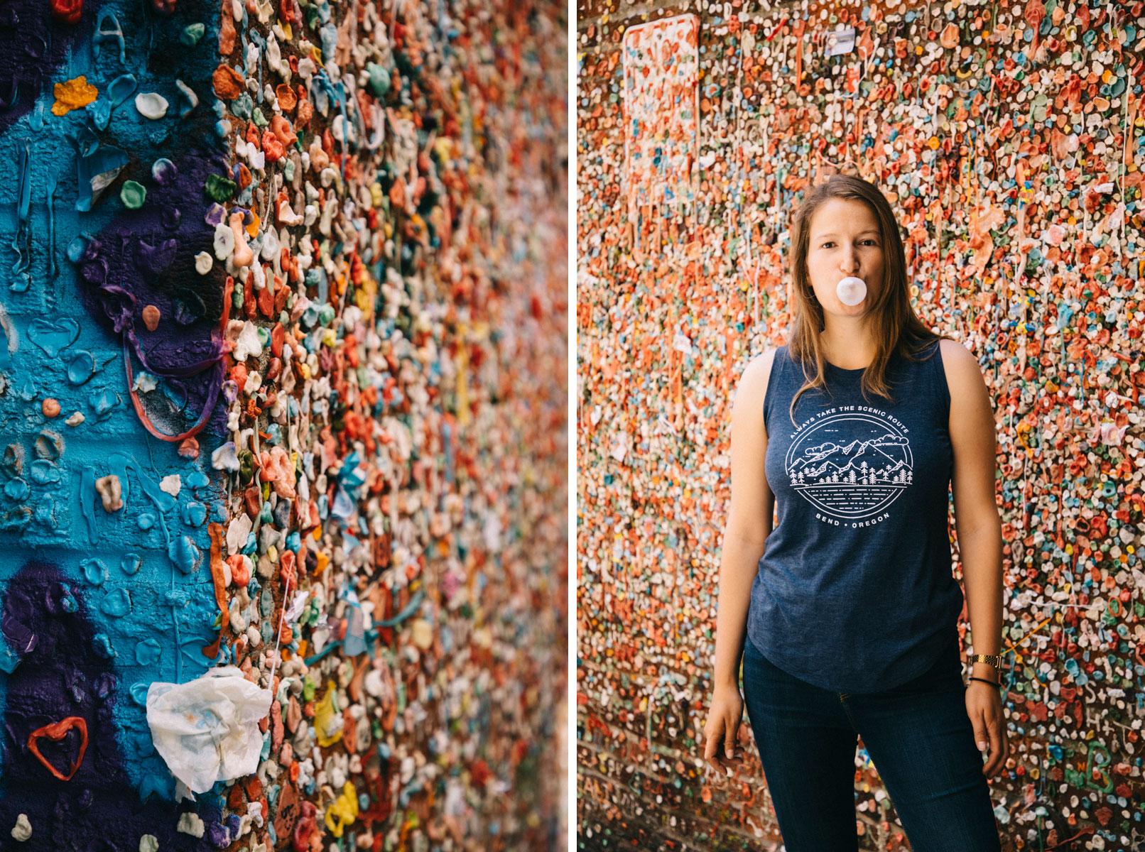 Une mur entièrement remplis de chewing-gum à Seattle