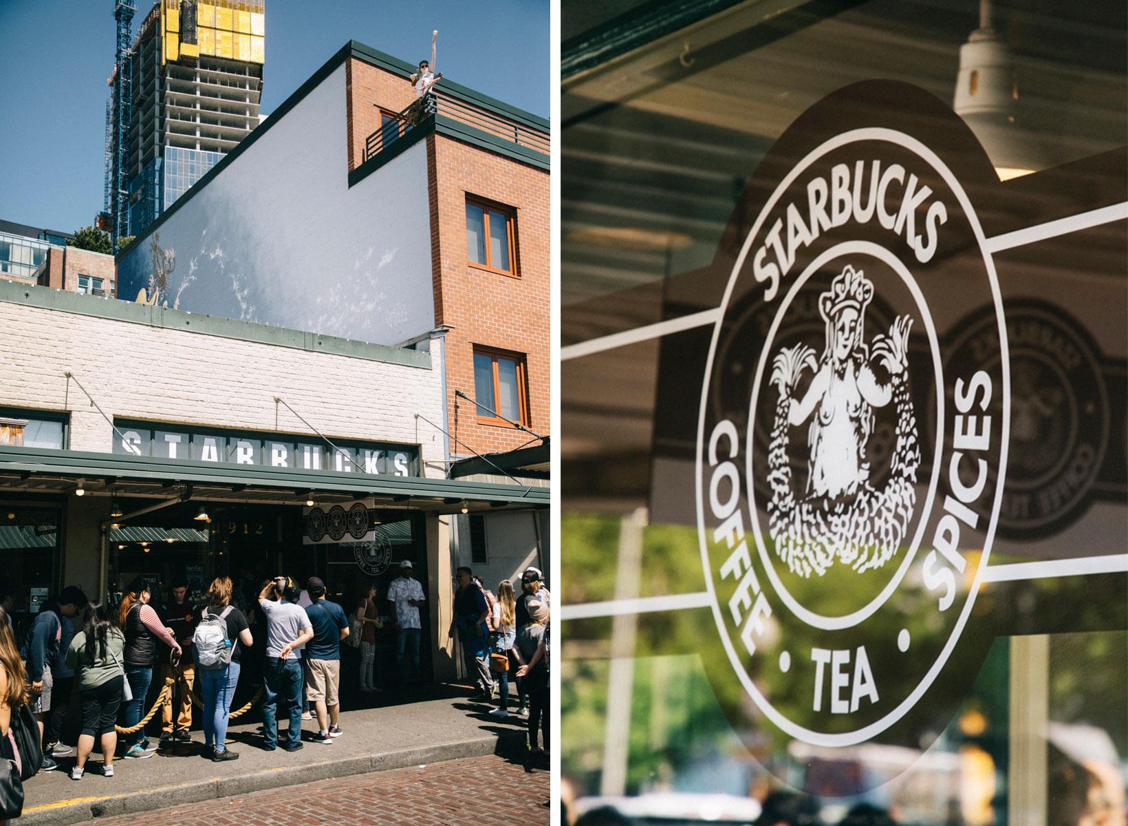 buckLe premier Starbuck de l'Histoire à Seattle dans le quartier de pike place market