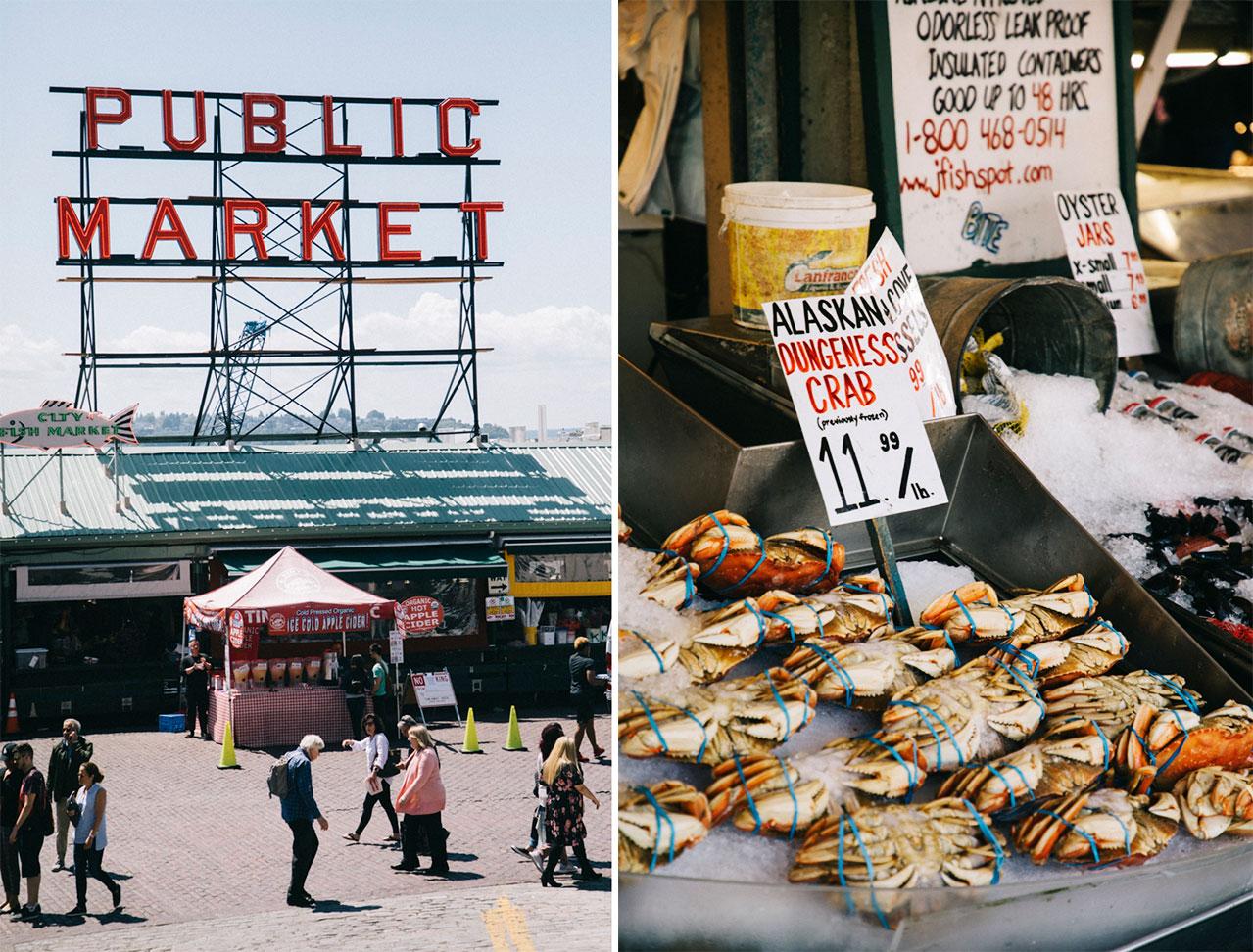 Les crabes de Seattle sur un stand du marché de Pike Place
