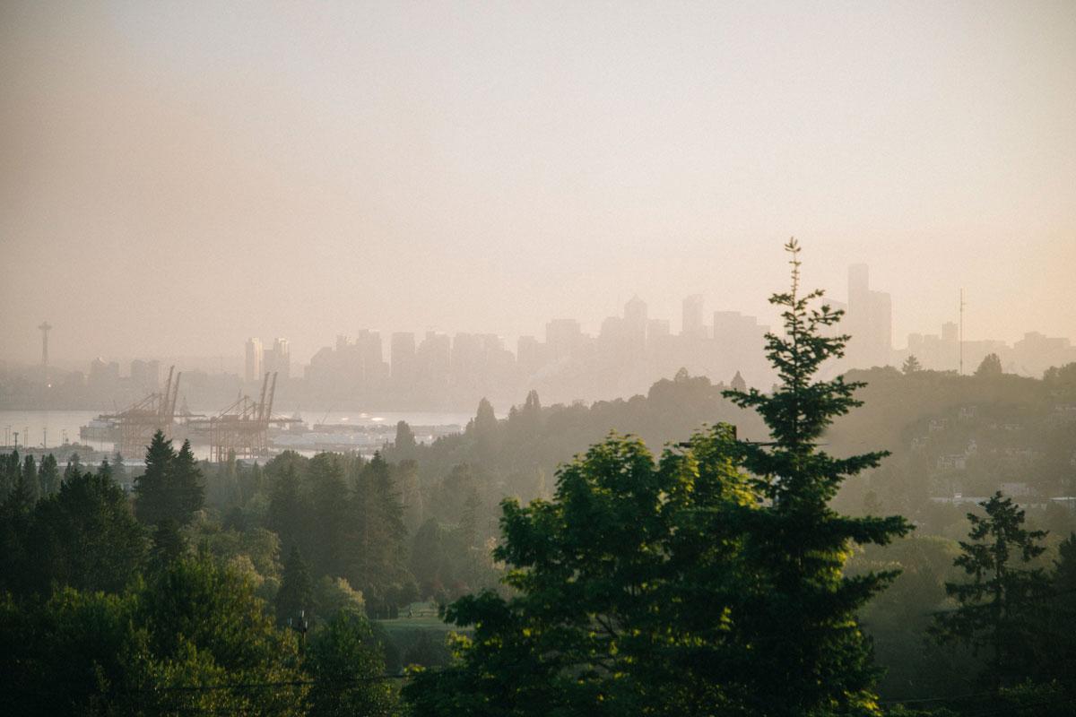 Vue sur Seattle depuis notre Airbnb
