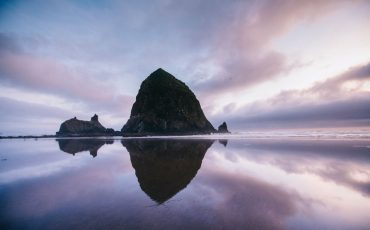 Cannon beach sunset Haystack rock, Oregon Coast