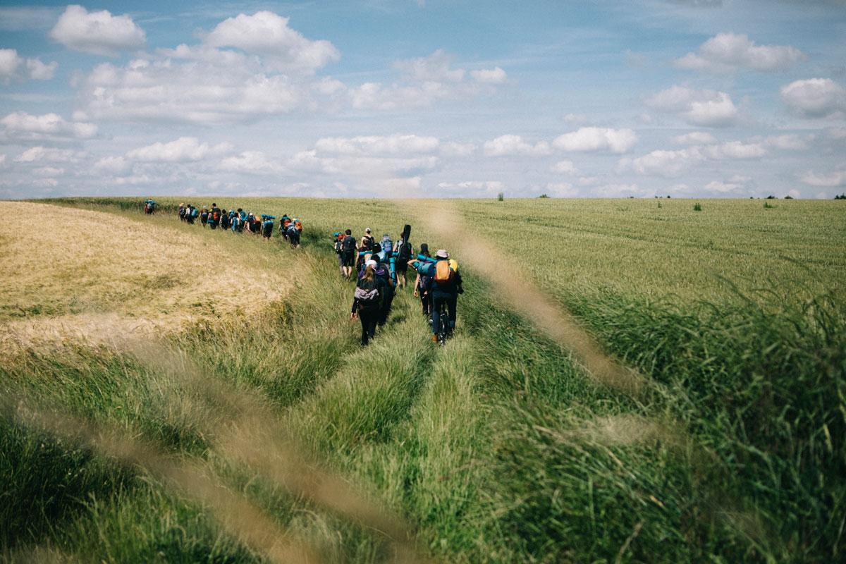 le sentier dans les champs à notre arrivée vers Houdan