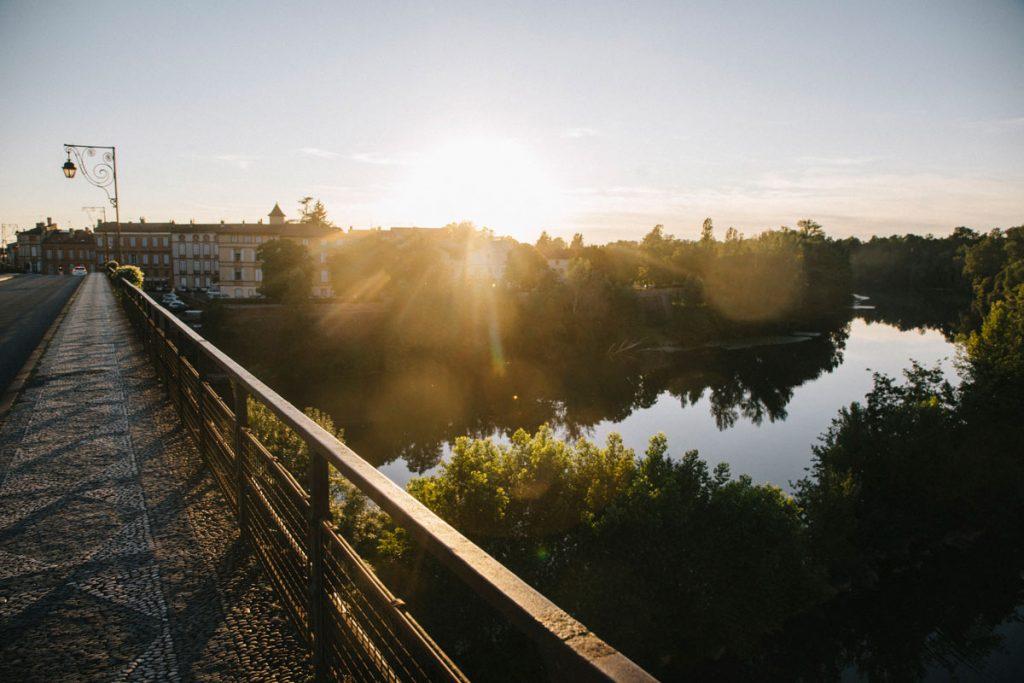 le pont vieux et le Tarn au coucher du soleil