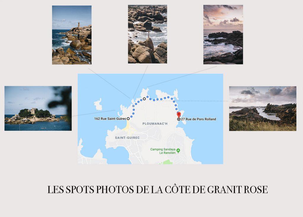 les différents spots photos le long de la Côte de Granit Rose