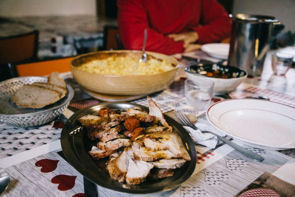 le repas au refuge des mouterres