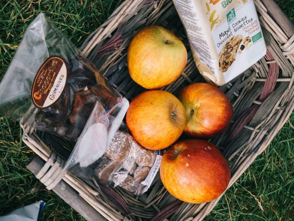 panier repas à partir des produits du marché des producteurs
