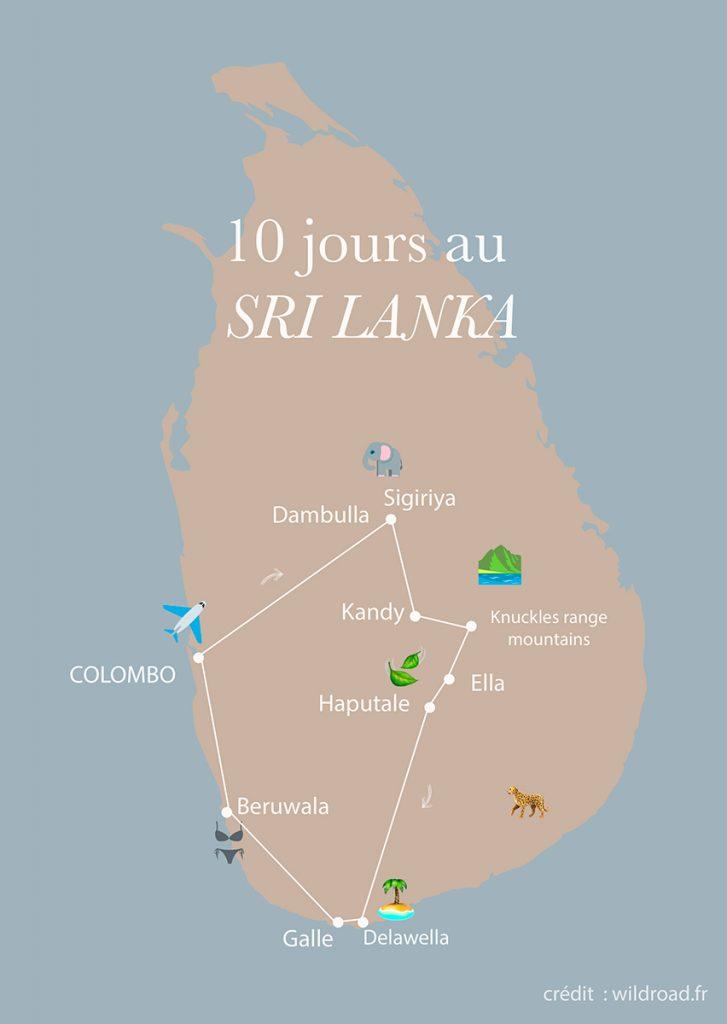 mon itinéraire de 10 jours au Sri Lanka