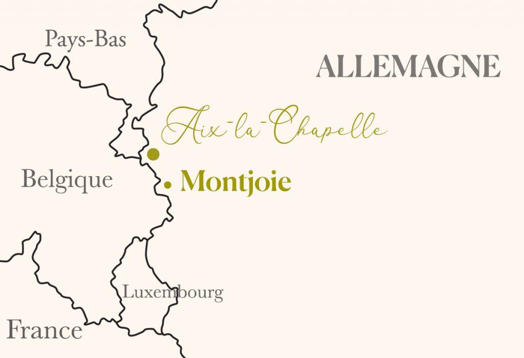 carte pour situer Aix-la-Chapelle et Montjoie