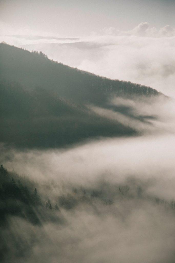 la vue sur le parc national d'Eifel depuis le chateau de Niddegen