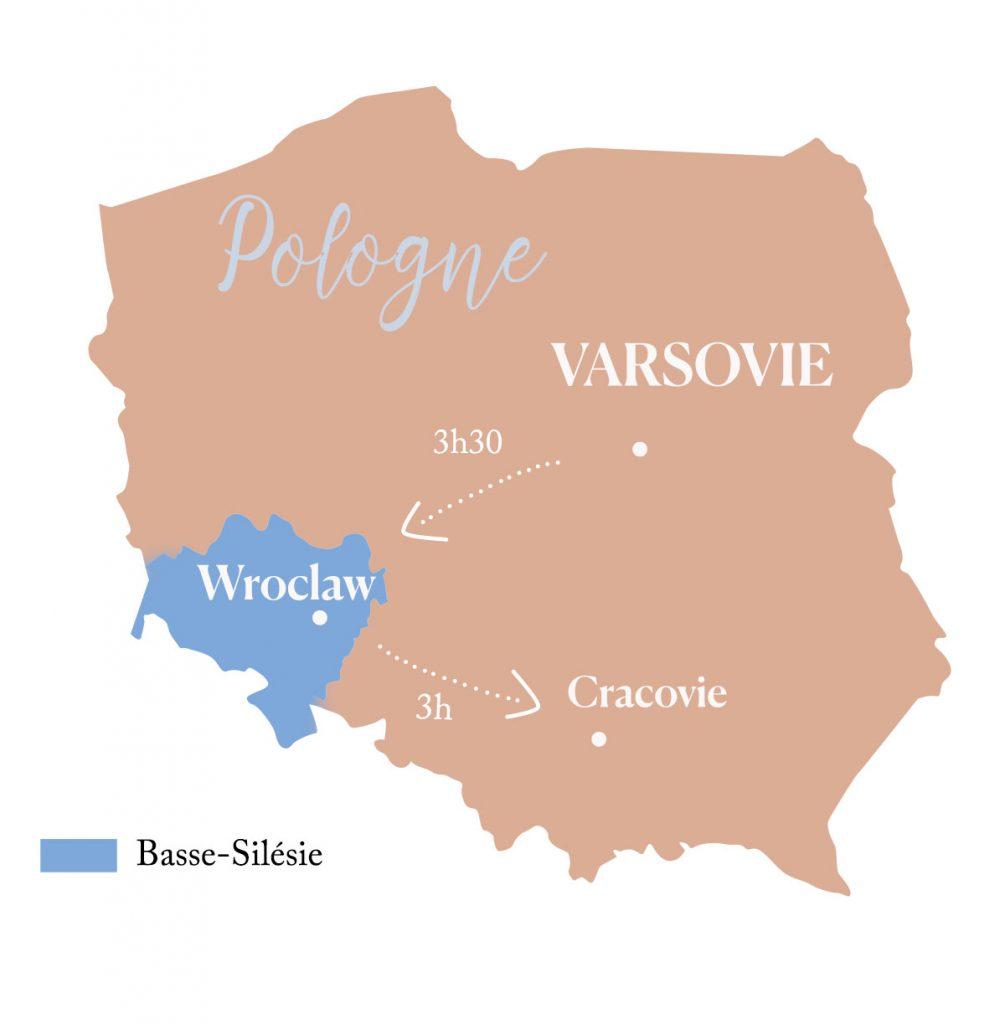 carte de la Pologne avec la Basse-Silésie et Wroclaw