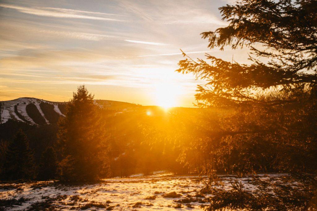coucher de soleil sur le col de l'Oberlauchen pour le nouvel an
