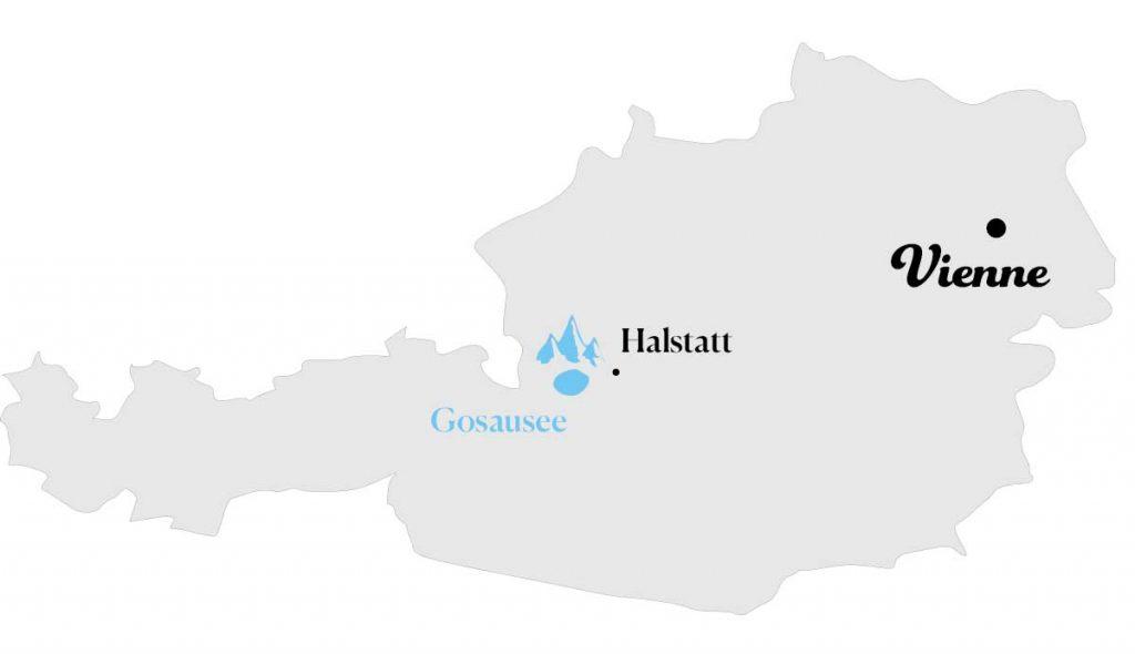 Carte localisation du lac Gosausee en Autriche