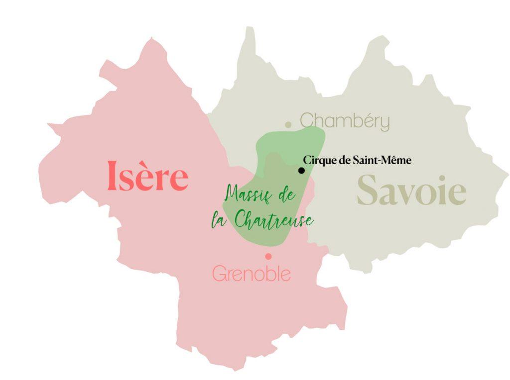 Carte de localisation du massif de la Chartreuse et du cirque de Saint-Même