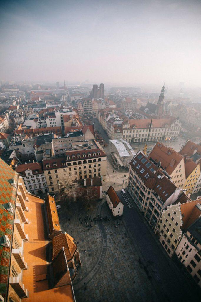 Panorama sur la ville de Wroclaw depuis la tour de Saint-Elisabeth