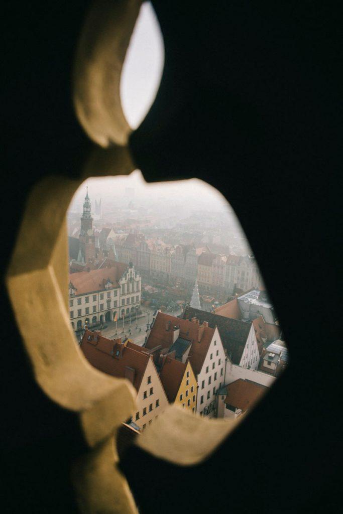 Le centre-ville de Wroclaw depuis la tour de l'église Saint-Elisabeth