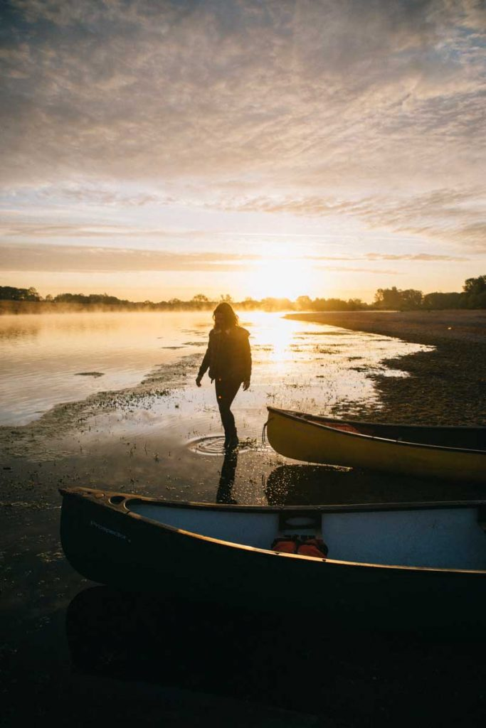 lever de soleil sur la Loire en Canoë