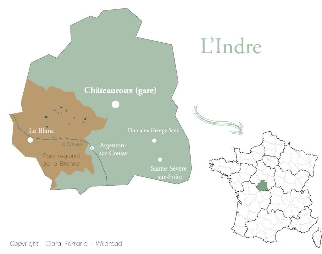 Le département de l'Indre sur une carte de la France