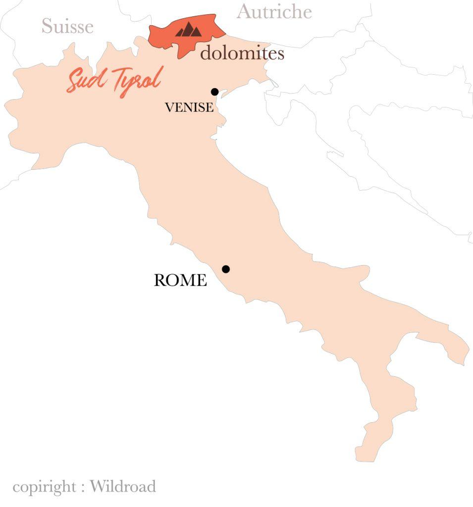 la carte des Dolomites et du Sud Tirol en Italie.