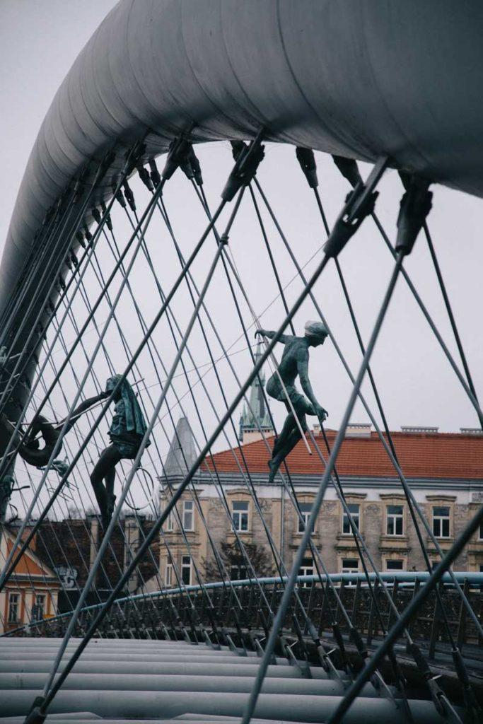 Les sculpteurs des danseurs sur le pont de Cracovie qui men à l'ancien ghetto Juif. credit photo : Clara Ferrand - blog Wildroad