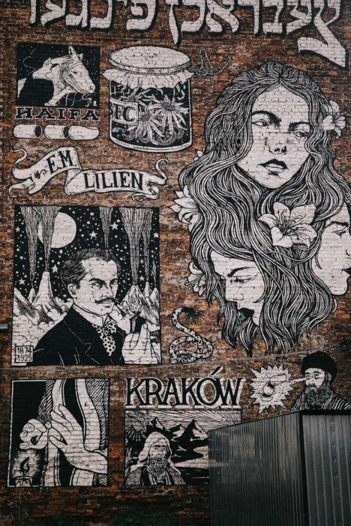 Un street art qui rend hommage à une famille juif dans le quartier de Kazimierz à Cracovie. credit photo : Clara Ferrand - blog Wildroad