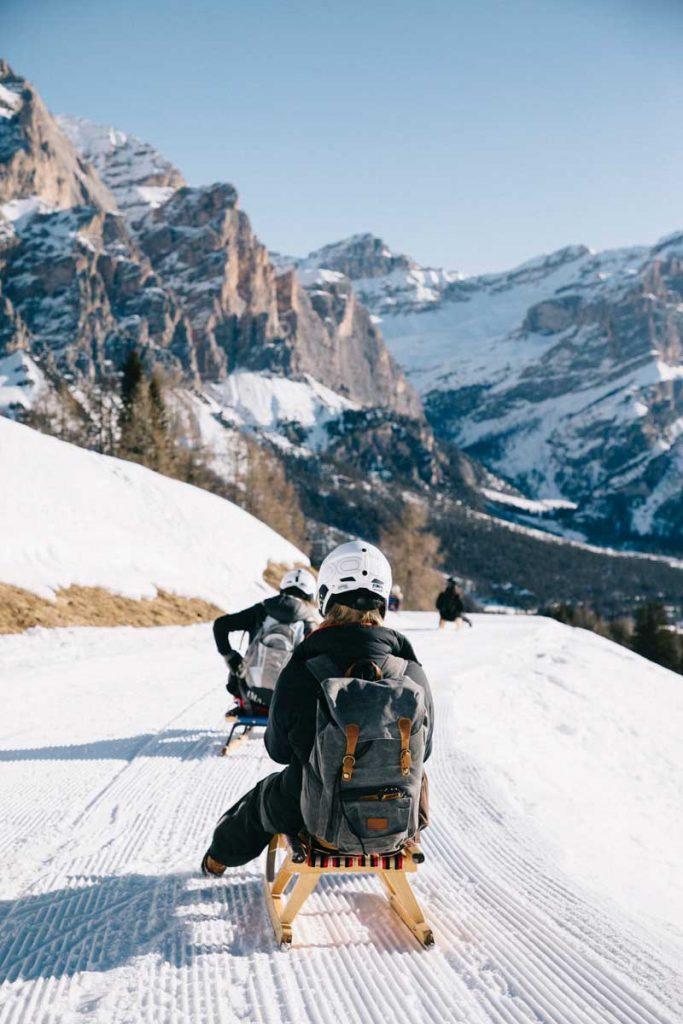 Faire de la luge autrichienne dans les Dolomites. Credit photo : Clara Ferrand - blog Wildroad