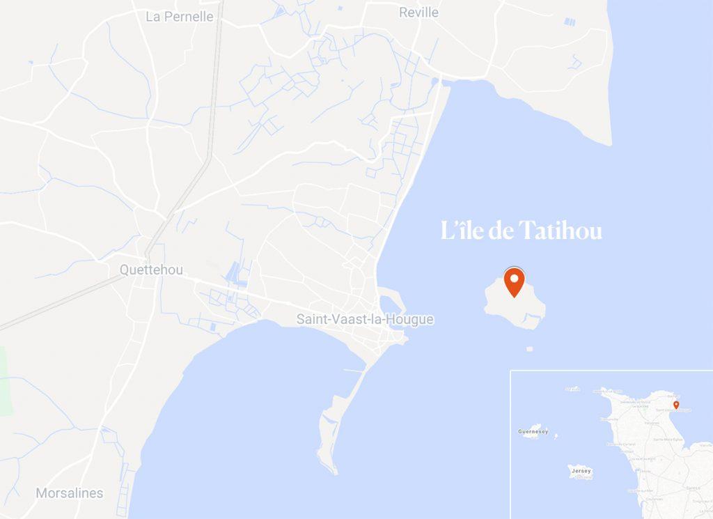 carte pour situer l'île de tatihou en Normandie