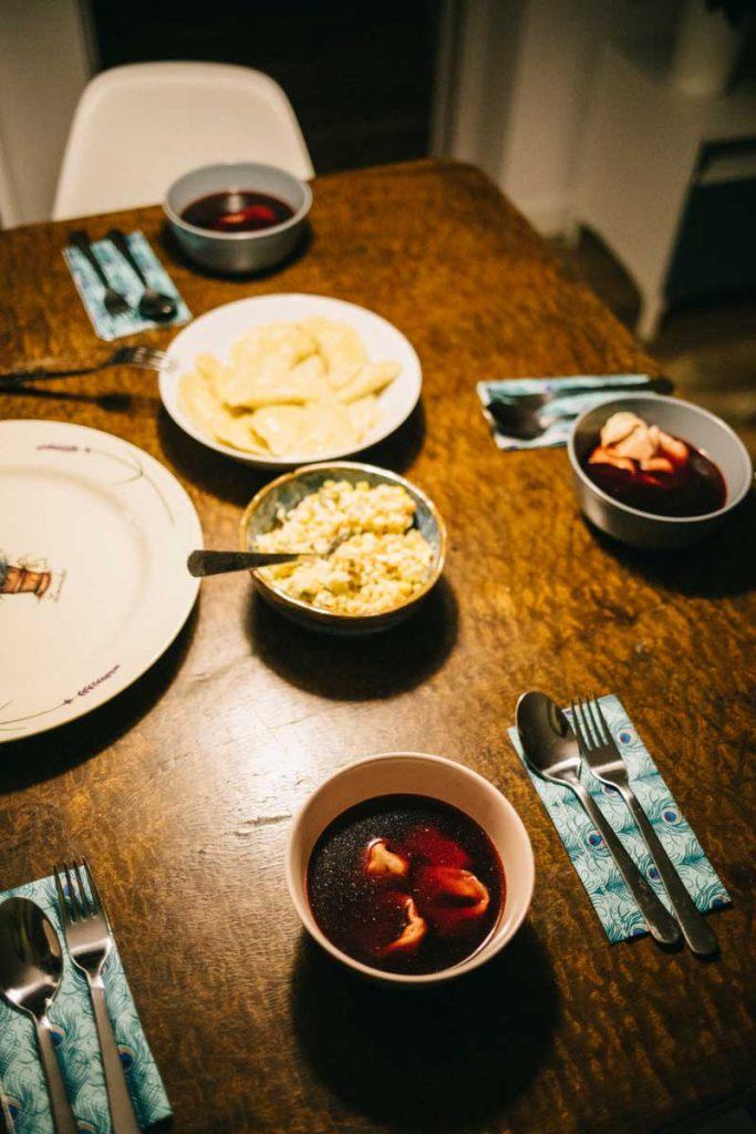 Manger dans un famille polonaise pour le réveillon de Noël. crédit photo : Clara Ferrand