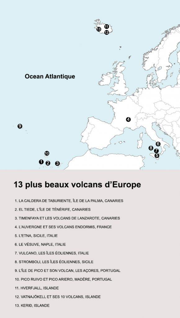 Les 13 plus beau volcans d'Europe. crédit map : Clara Ferrand
