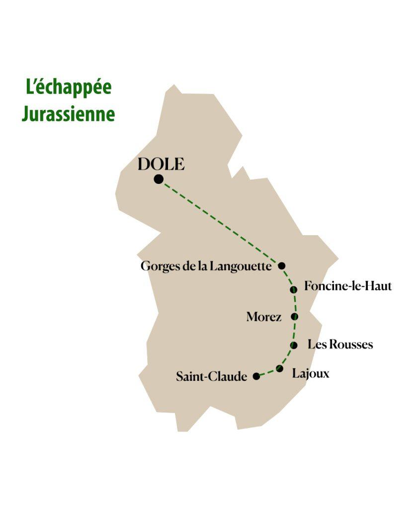 Tracé de l'itinéraire de l'échappée jurassienne dans le massif du Jura. crédit : clara ferrand ) blog Wildroad