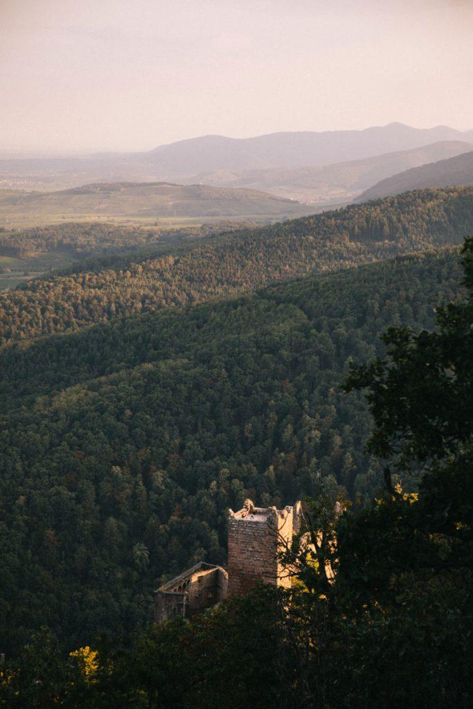 Le château de Saint-Ulrich vu du chemin qui mène à Haut Ribeaupierre. crédit photo : Clara Ferrand - blog Wildroad