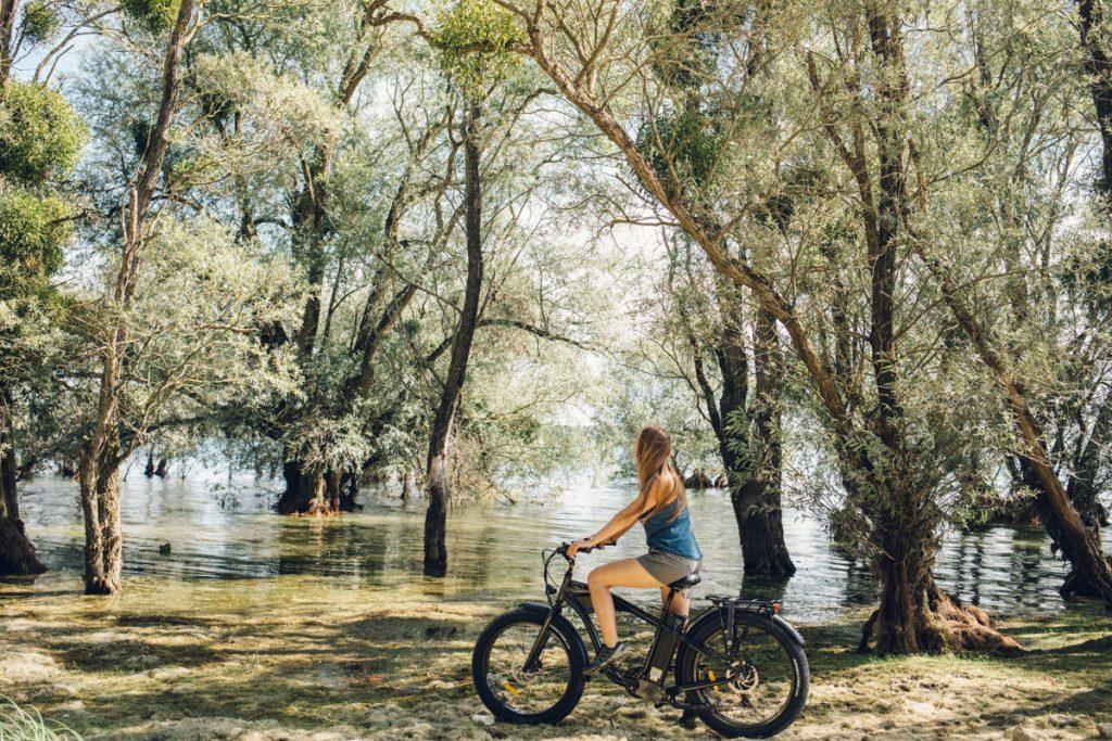 Faire du vélo sur la vélovoie des lacs d'Orient à côté de Troyes. crédit photo : Clara Ferrand - blog Wildroad