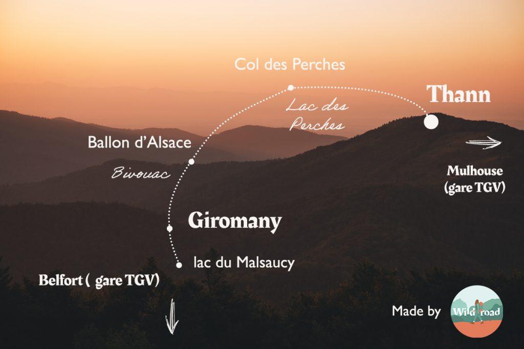 Le tracé de mon itinéraire de 3 jours dans le massif des Vosges. crédit photo : Clara Ferrand - blog Wildroad