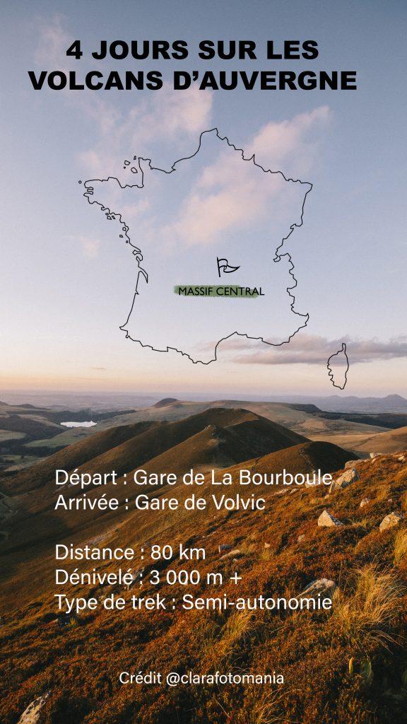 Carte de la traversée des volcans d'Auvergne en 4 jours. crédit photo : Clara Ferrand - blog Wildroad