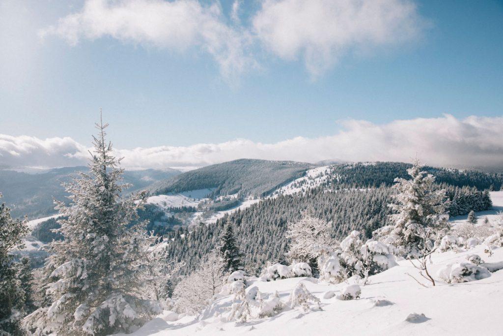Panorama sur le massif des Vosges enneigé depuis le sommet de Steinmauer. crédit photo : Clara Ferrand - blog Wildroad