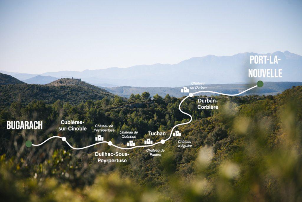 Le sentier Cathare end tail sur une carte. crédit photo : Clara Ferrand - blog WIldroad